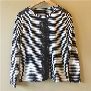 J. Crew Strip d and lace long sleeve tee